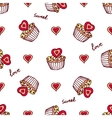 Seamless pattern with doodle heart shaped cookies vector image vector image