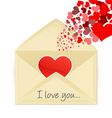 mail opening with hearts vector image vector image