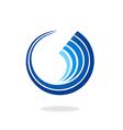 circle wave geometry communication technology logo vector image