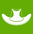 cowboy hat icon green vector image