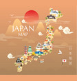 japan travel map in flat vector image