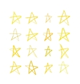 Set of golden hand-drawn stars on white vector image