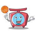 with basketball scale character cartoon style vector image