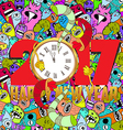 Happy new year 2017 monster doodle vector image