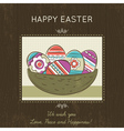 Easter card with nest full of easter eggs vector image