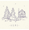 house and spruce vector image vector image