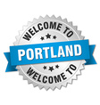 Portland 3d silver badge with blue ribbon vector image