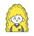 Beauty girl with hairstyle and uniform clothes vector image