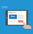 design concept of hotel booking online tablet vector image