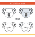Koala bear Set isolated face heads bear in color vector image