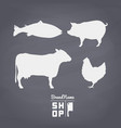 set of meat silhouettes on vector image