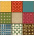 Set of nine retro simple geometric seamless vector image