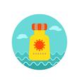 Sunscreen icon Summer Vacation vector image