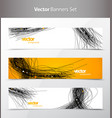three abstract background banners with black lines vector image