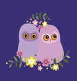 Two owls in flowers vector image