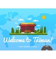 Welcome to Taiwan poster with famous attraction vector image