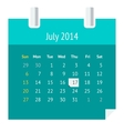 Flat calendar page for July 2014 vector image vector image