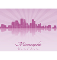 Minneapolis skyline in purple radiant orchid vector image