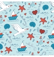Colorful seamless sea pattern with seagulls shells vector image vector image
