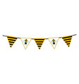 bunting with bee and striped pattern vector image