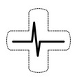 cross with ekg isolated icon vector image