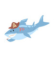 funny cartoon shark pirate in a hat smoking pipe vector image