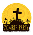 halloween lettering with crosses on cemetery vector image