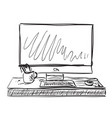 workplace with laptop notebook tablet sketch vector image
