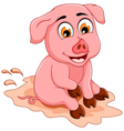 Funny pig cartoon sitting in mud puddle vector image