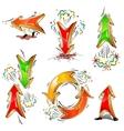 Cartoon moving colored arrows vector image vector image