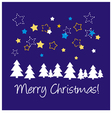 Christmas blue card or invitation with wishes vector image