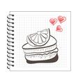 doodle orange cake slice on notebook paper vector image