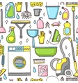 doodle pattern of cleaning tools vector image