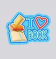 i love book sticker social media network message vector image