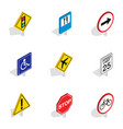 prohibition sign icons isometric 3d style vector image