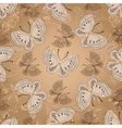Seamless beige pattern with butterflies vector image