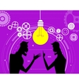 Two creative businessmen share ideas and plans vector image