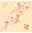 Valentines Day romantic background with cute vector image