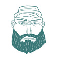 Cartoon Brutal Man Face with Beard vector image vector image