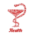 Medicine icons in form of snake on bowl vector image vector image