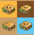 kawaii set sandwich icon with beautiful vector image