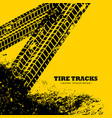 tire tracks marks on grunge yellow background vector image