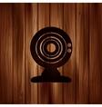 Web camera icon Wooden texture vector image vector image