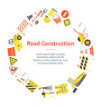 cartoon road construction banner card circle vector image