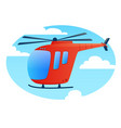 red helicopter in the sky vector image