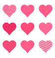 set of bright hearts with pattern vector image