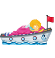 A girl sleeping in a ship with a pink blanket vector image