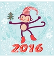 2016 card with cute funny monkey character vector image