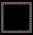 Color geometric ethnic frame on black vector image vector image
