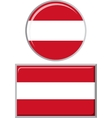 Austrian round and square icon flag vector image